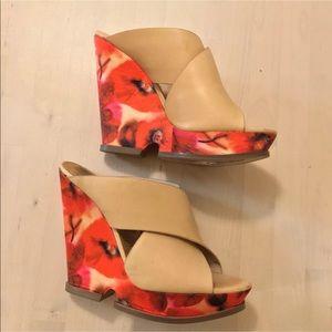 Sam Edelman floral beige mules wedged heels